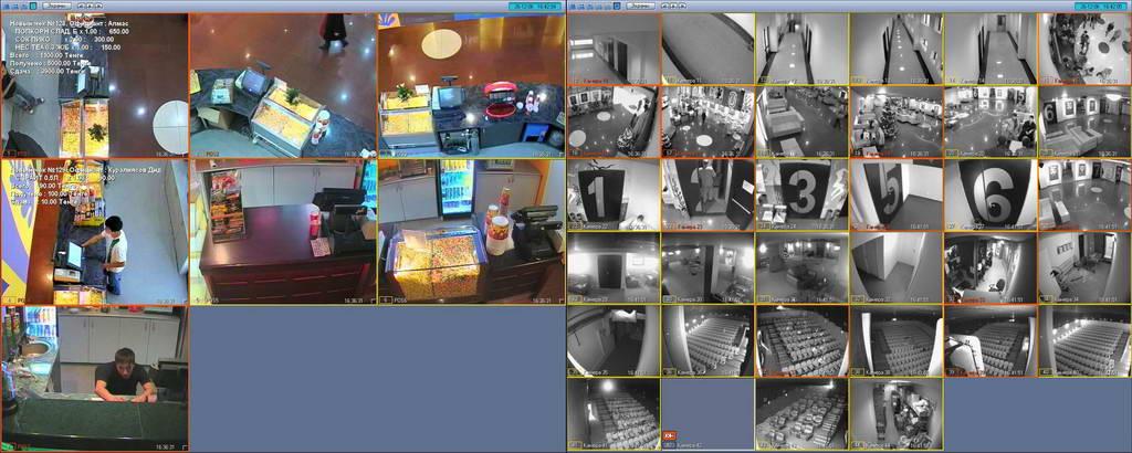 Монтаж видеонаблюдения - пример отображения информации на видеосервере
