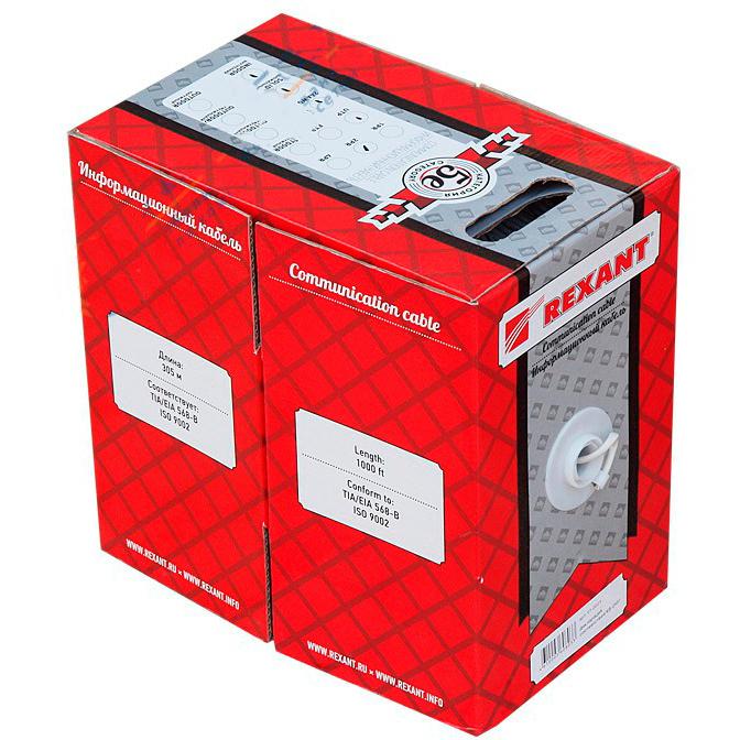 Фото - Кабель Ethernet REXANT REXANT Кабель UTP 4PR 24AWG CAT5e 305м нг(А)-HF (01-0049) кабель ethernet rexant rexant кабель ftp 4pr 23awg cat6 305м zh нг а hf 01 0151
